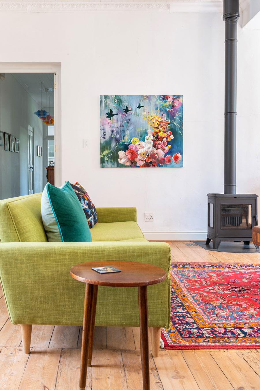 The bright and colourful living room of South Artist, Jenny Parsons