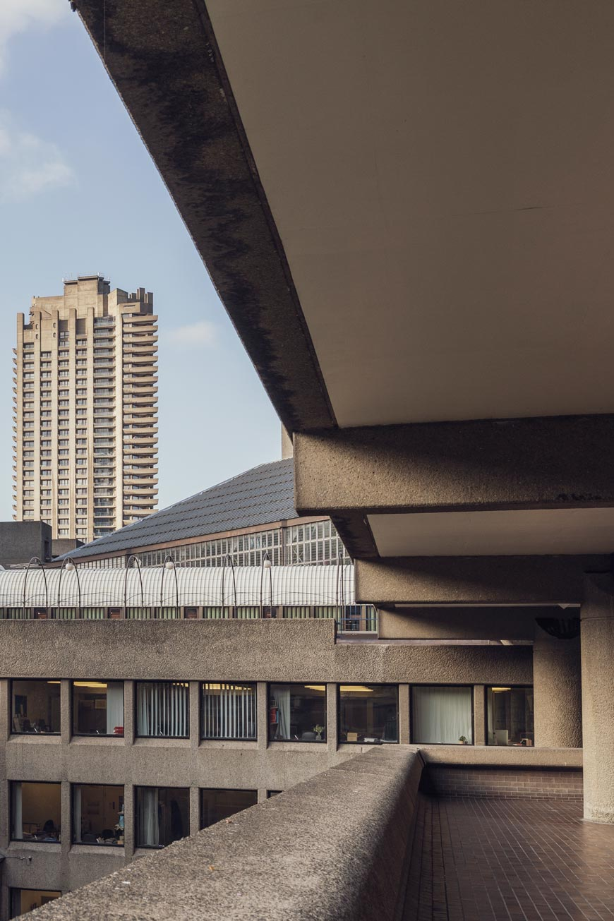 Brutalist architecture of the Barbican Center in London