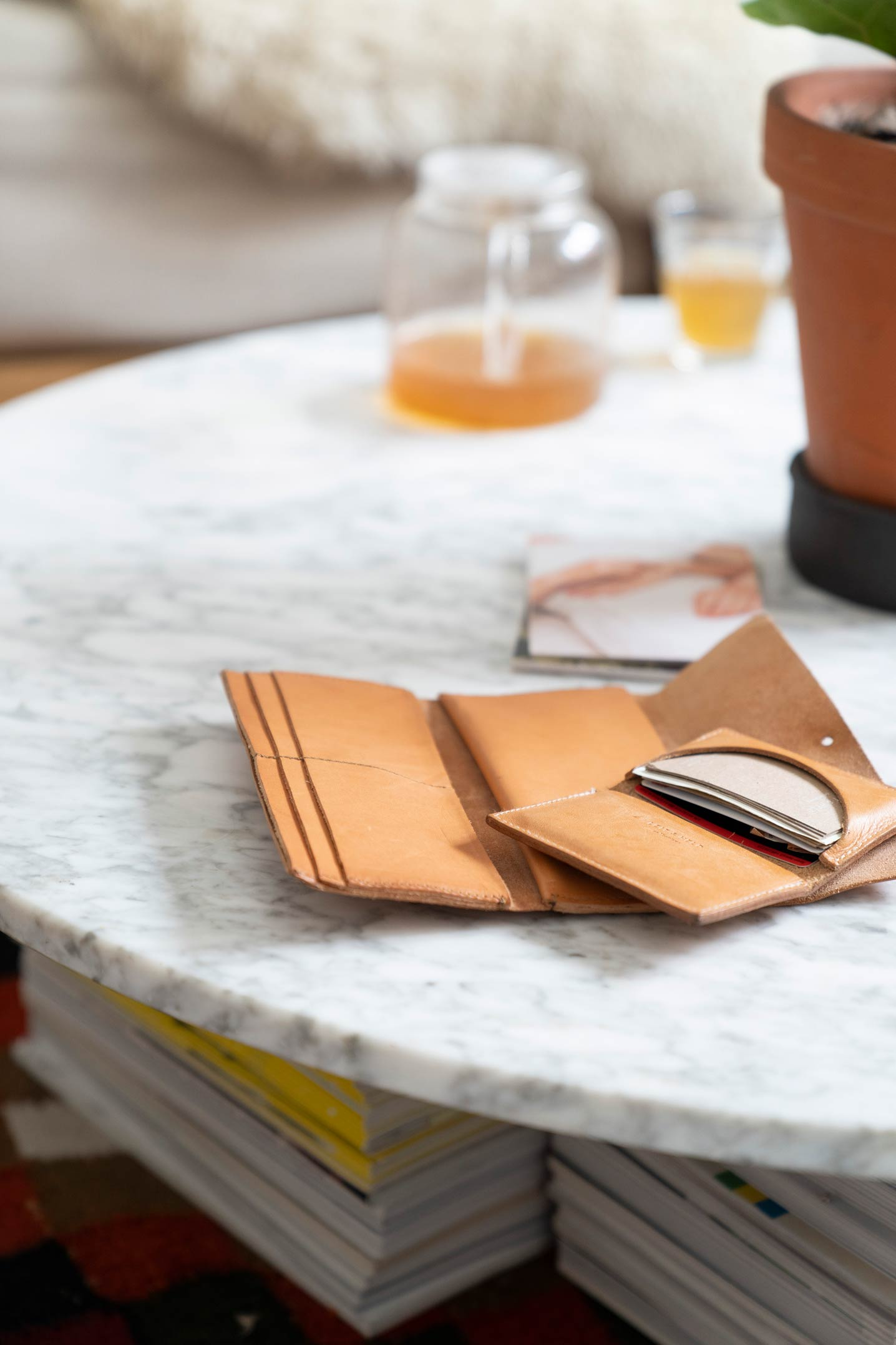 Leather wallets on a marble table