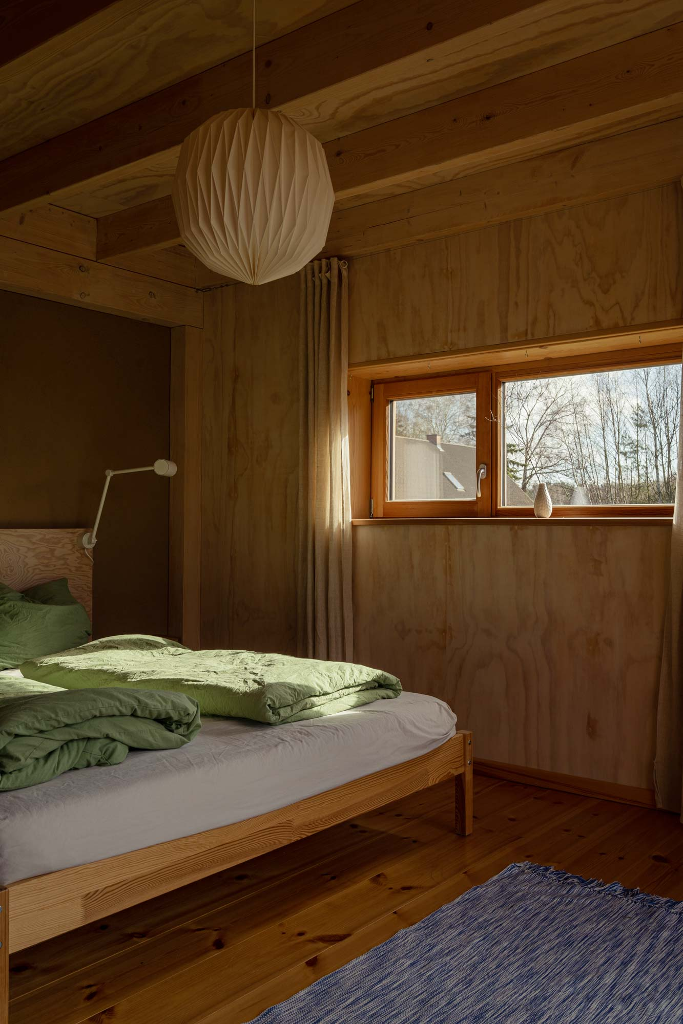 Interior photography of eco friendly wooden cabin in German countryside