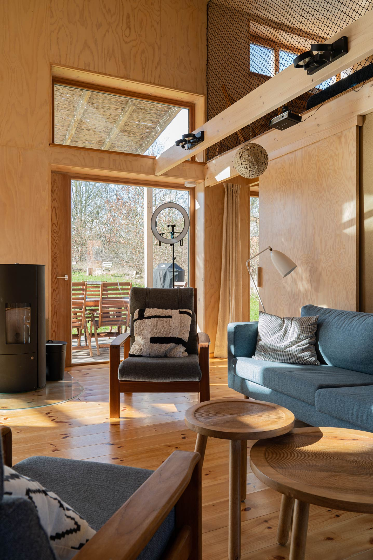 Interior details of eco friendly wooden cabin